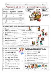 English Worksheet: Possessive adjectives - Possessive pronouns
