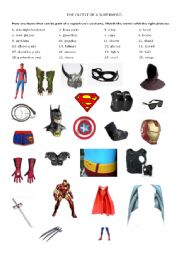 English Worksheet: The outfit of superheroes