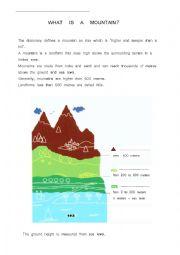 English Worksheet: A mountain