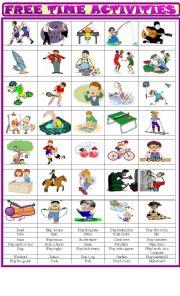 English Worksheet: Free time activities: Matching exercise
