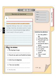 English worksheet: grammar revision - adj. verb to be