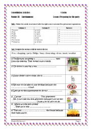 English Worksheet: Module 3 lesson 1 preparing for the party   consolidation