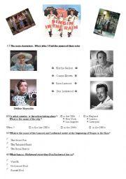 english worksheets singing in the rain film worksheet. Black Bedroom Furniture Sets. Home Design Ideas