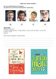 English Worksheet: Adrian Mole worksheet