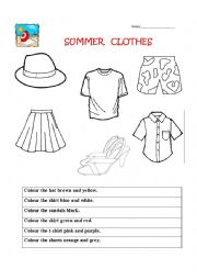 Summer clothes worksheets