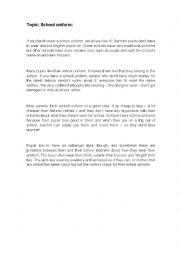 English Worksheet: Topic School uniform
