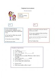 English Worksheet: Telephone Conversation EASY Practice Role Play