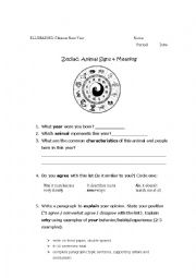 English Worksheet: Chinese New Year - Animal & Meanings