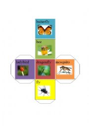 English Worksheet: insects dice-butterfly bee dragonfly fly ladybird mosquito