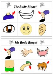 English Worksheet: The body bingo