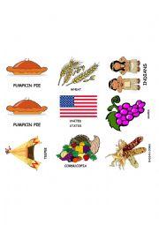 English Worksheet: Thanksgiving Flash-cards