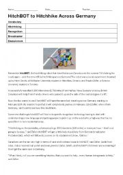 English Worksheet: Hitchbot to Hitchhike across Germany