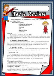 English Worksheet: movie review