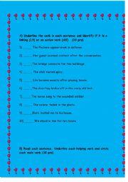 English Worksheet: action & linking verbs exercises/ possessive noun exercises
