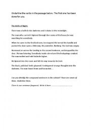 English Worksheet: The Knife in the Dark Verbs and compound sentences