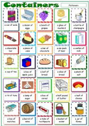 English Worksheet: Containers * Pictionary