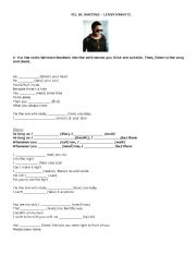 English Worksheet: I�ll be waiting (Lenny Kravitz)