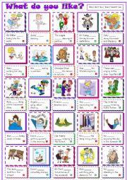 English Worksheet: What do you like?