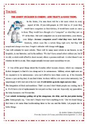 Useful Reading Comprehension task : ROOMBA ROBOT. Unit 3 lesson 1. 4th Tunisian students