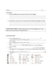 English Worksheet: Egypt Hieroglypgics Lesson