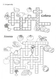 3. Colors, fruits and vegetables - Crossword