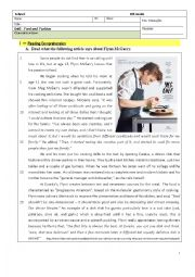 English Worksheet: Passion for Cooking - Food - 8th Grade Test