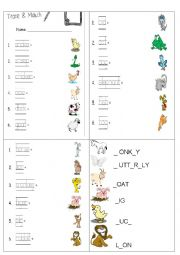 English Worksheet: matching animals