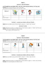 English Worksheet: compare your talents pairwork