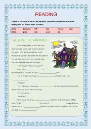 English Worksheet: Reading : VILLA OF THE VAMPIRES
