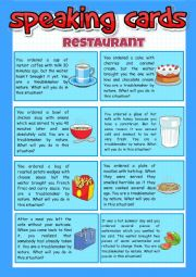 English Worksheet: Restaurant - speaking cards