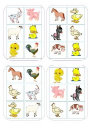 English Worksheet: Bingo Game Farm animals