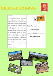 English Worksheet: Postcard from Oxford
