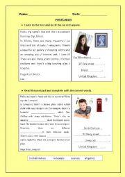 English Worksheet: Postcards