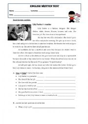 English Worksheet: Daily routine - wriiten test