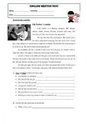 English Worksheet: Daily routine - wriiten test