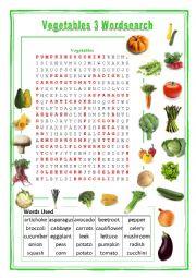 Vegetables Wordsearch 3