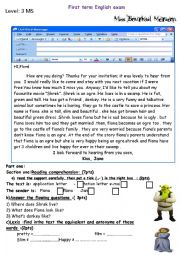 English Worksheet: shrek test  3 MS