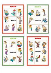 English Worksheet: Illnesses Bingo Boards Part 3 of 3