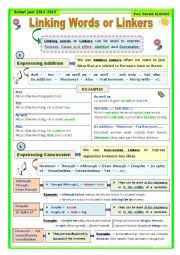 English Worksheet: Linking Words: Concession and Addition