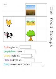 English Worksheet: The Food Groups
