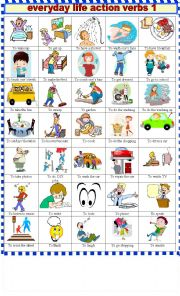 English Worksheet: EVERYDAY  LIFE ACTION VERBS 1