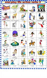 English Worksheet: EVERYDAY  LIFE ACTION VERBS 2