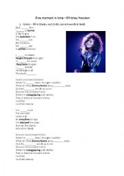 English Worksheet: Whitney Houston - One Moment in Time