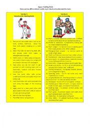 English Worksheet: Information Gap Task 5/8: jigsaw