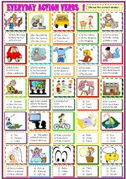 English Worksheet: EVERYDAY ACTION VERBS/MULTIPLE CHOICE ACTIVITY