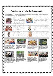 English Worksheet: Environment Volunteers Reading Exercise PET Style