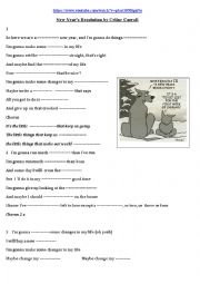 English Worksheet: Song : New Year�s Resolution
