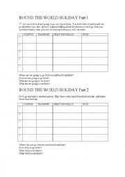 English Worksheet: Before and after a Holiday speaking task