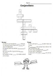 english worksheets conjunctions connectors crossword. Black Bedroom Furniture Sets. Home Design Ideas