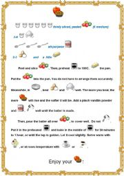 English Worksheet: Apple Pie Recipe